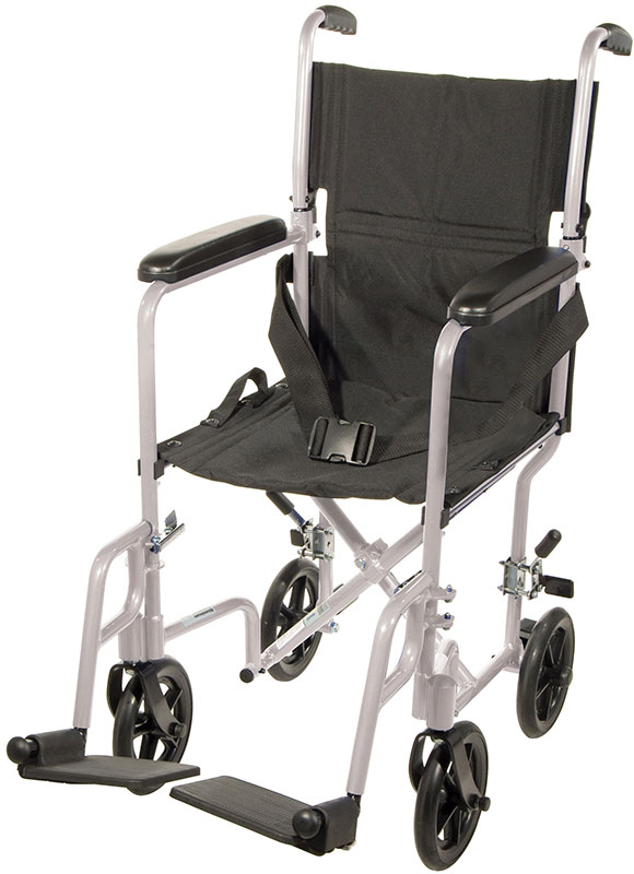 Drive Medical 19 inch Deluxe Lightweight Transport Wheelchair - Silver