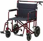 "Drive Medical Red 22"" Bariatric Aluminum Transport Chair w/Rear Wheels thumbnail"