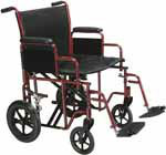 "Drive Medical 22"" Bariatric Transport Wheelchair - BTR22R thumbnail"