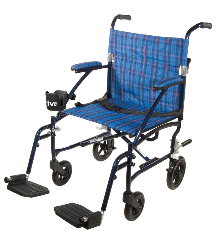 Drive Medical Fly Lite Blue Ultra Lightweight Transport Wheelchair