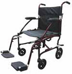 Drive Medical Fly Lite Burgundy Ultra Lightweight Transport Wheelchair thumbnail