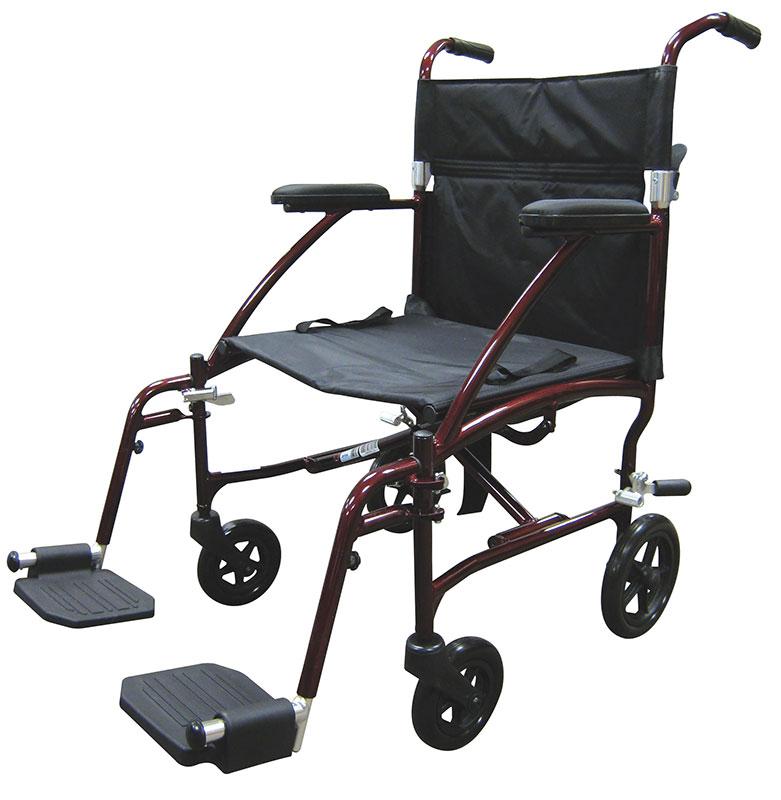 Drive Medical Fly Lite Burgundy Ultra Lightweight Transport Wheelchair