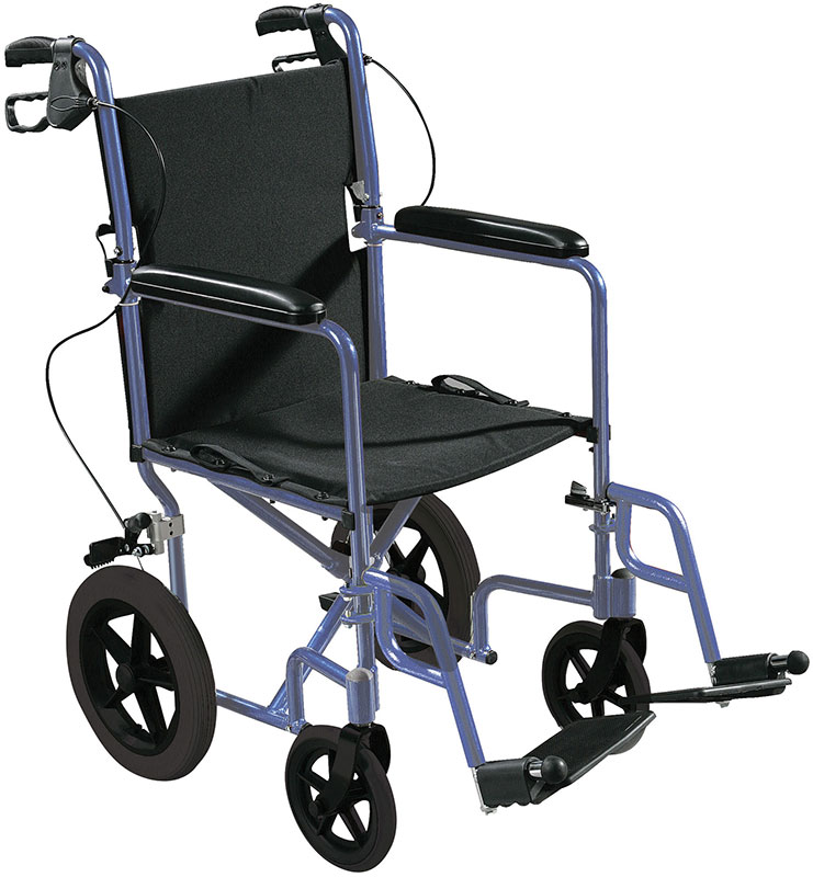 Drive Medical Expedition Transport Wheelchair w/Hand Brakes - Blue