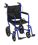 Drive Medical Lightweight Transport Wheelchair w/Hand Brakes Blue