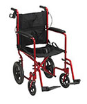 Drive Medical Lightweight Transport Wheelchair w/Hand Brakes Red