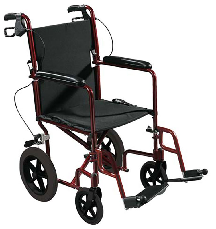 Drive Medical Expedition Transport Wheelchair w/Hand Brakes - Red