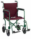"Drive Medical 19"" Plaid Burgundy Lightweight Transport Wheelchair thumbnail"