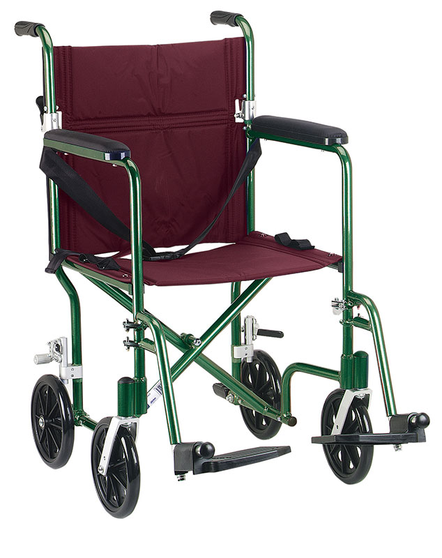 Drive Medical 19 inch Plaid Burgundy Lightweight Transport Wheelchair