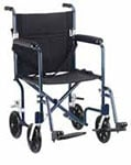 "Drive Medical 19"" Flyweight Lightweight Transport Wheelchair - Blue thumbnail"
