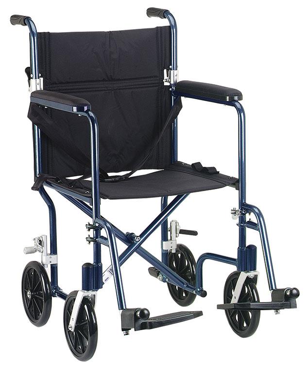Drive Medical 19 inch Flyweight Lightweight Transport Wheelchair - Blue