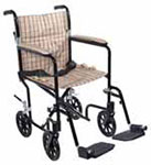 "Drive Medical 19"" Plaid Tan Lightweight Transport Wheelchair thumbnail"
