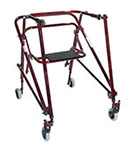 Drive Medical Adult Nimbo Rehab Lightweight Posture Walker w/Seat Red