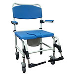 Drive Medical Bariatric Aluminum Rehab Shower Commode Chair w/Casters thumbnail