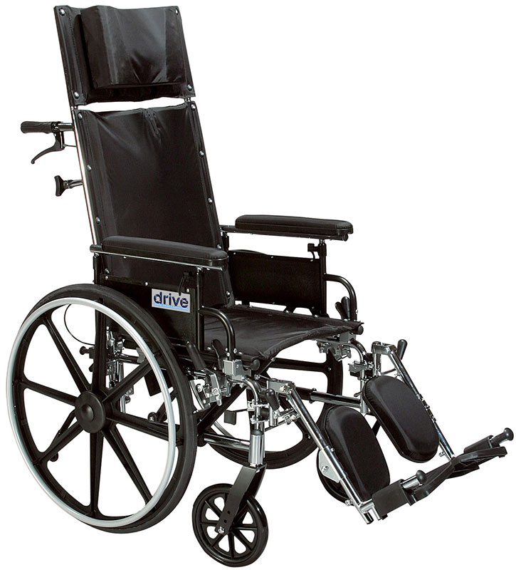 Drive Medical 12 Inch Reclining Wheelchair Viper Plus - PL412RBDDA