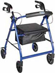 Drive Medical Blue Rollator w/Fold Up & Removable Back Support thumbnail