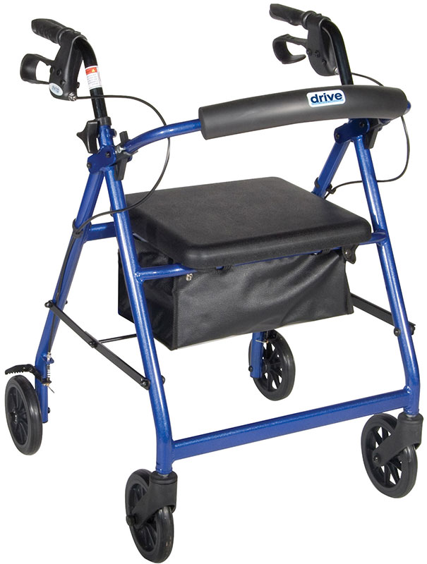 Drive Medical Blue Rollator w/Fold Up & Removable Back Support