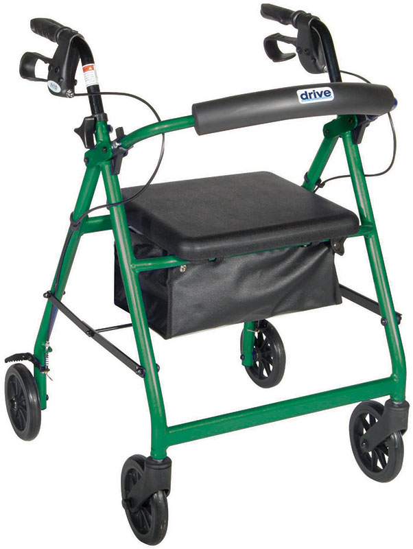 Drive Medical Green Rollator w/Fold Up & Removable Back Support