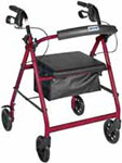 Drive Medical Rollator w/Fold Up & Removable Back Support Red - R726RD