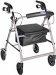 Drive Medical Silver Rollator w/Fold Up & Removable Back Support thumbnail