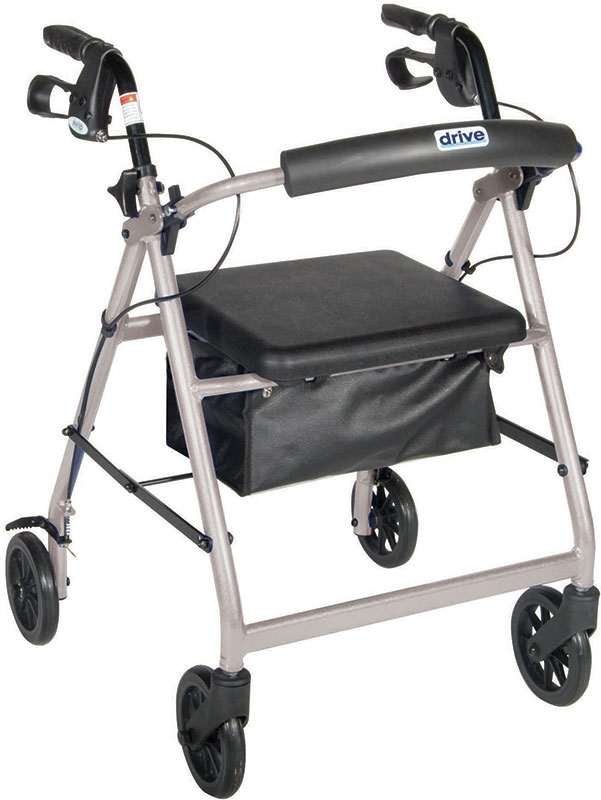 Drive Medical Silver Rollator w/Fold Up & Removable Back Support