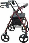 Drive Medical Rollator w/Fold Up & Removable Back Support Red - R728RD thumbnail