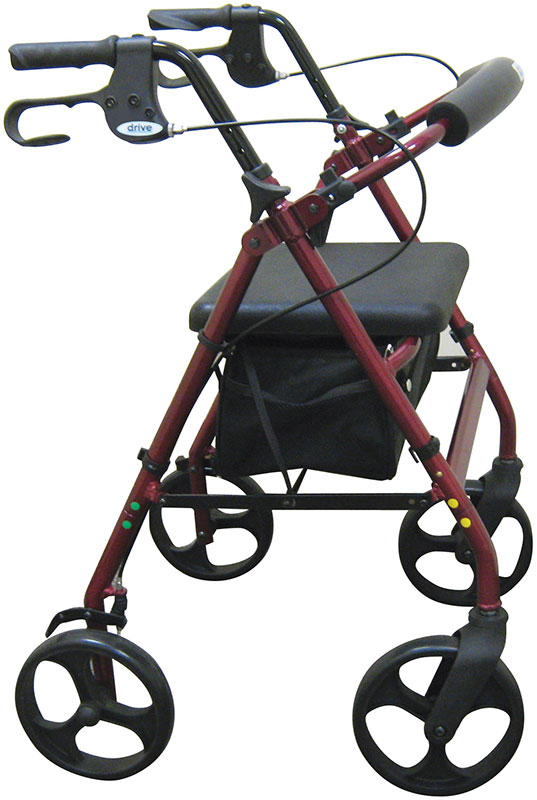 Drive Medical Rollator w/Fold Up & Removable Back Support Red - R728RD