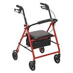 """Drive Medical Rollator with 6"""" Wheels Red thumbnail"""