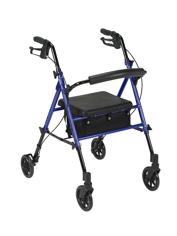 Drive Medical Adjustable Height Blue Rollator with 6