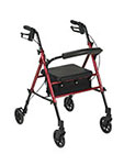 "Drive Medical Adjustable Height Red Rollator with 6"" Wheels thumbnail"