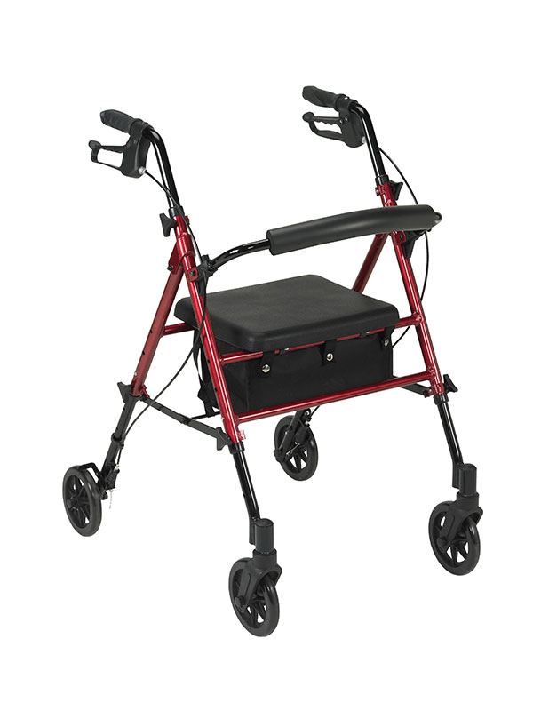 Drive Medical Adjustable Height Red Rollator with 6