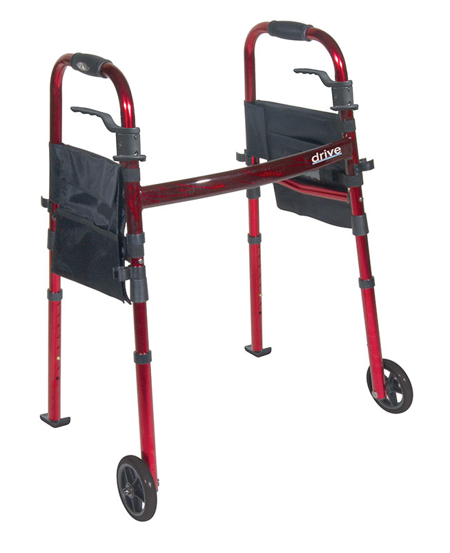 Drive Medical Folding Travel Walker with 5 inch Wheels & Fold Up Legs