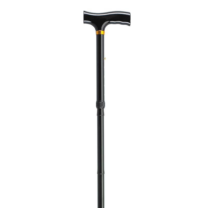 Drive Medical Lightweight Adjustable Black Folding Cane w/T Handle