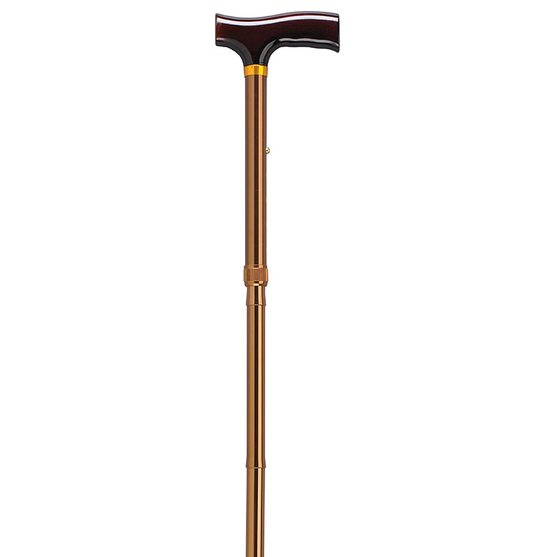 Drive Medical Lightweight Adjustable Bronze Folding Cane w/T Handle