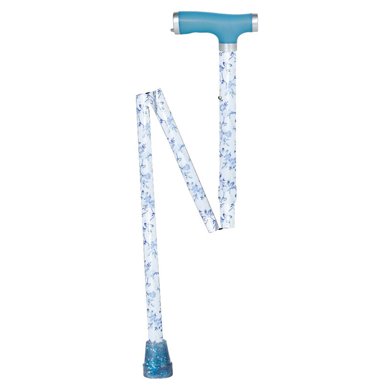 Drive Medical Glow and Go Folding Cane Light Blue