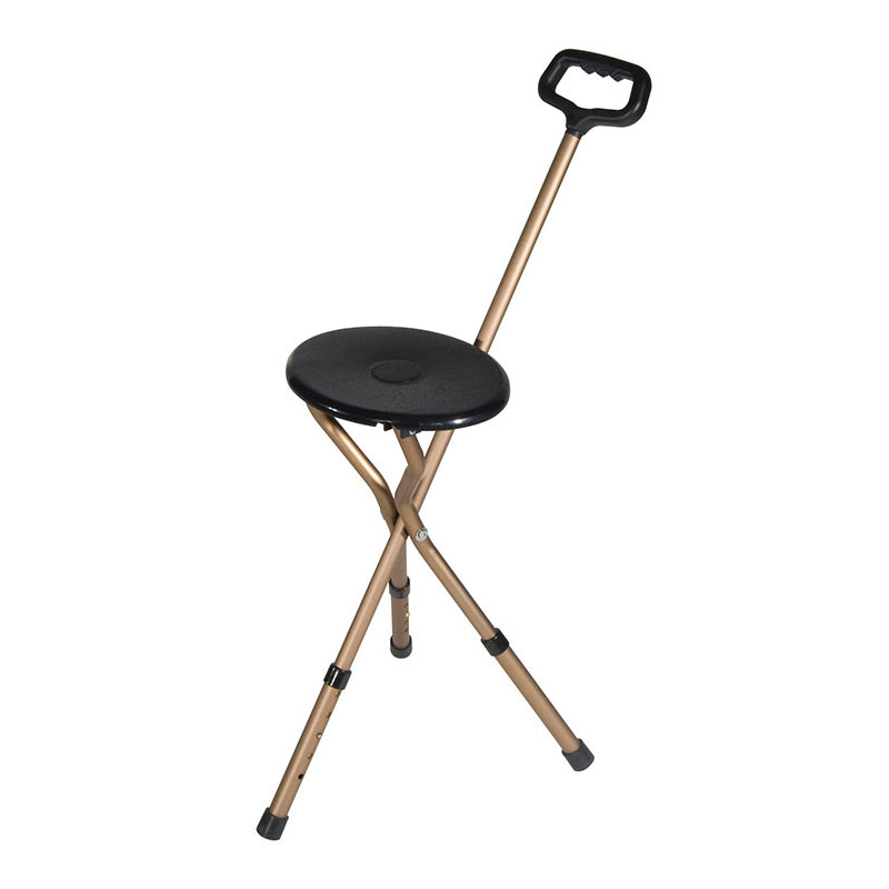Drive Medical Adjustable Height Folding Lightweight Cane Seat Bronze