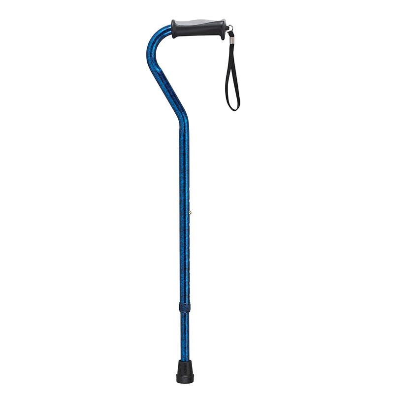 Drive Medical Adjustable Height Offset Handle Cane w/Gel Grip Blue