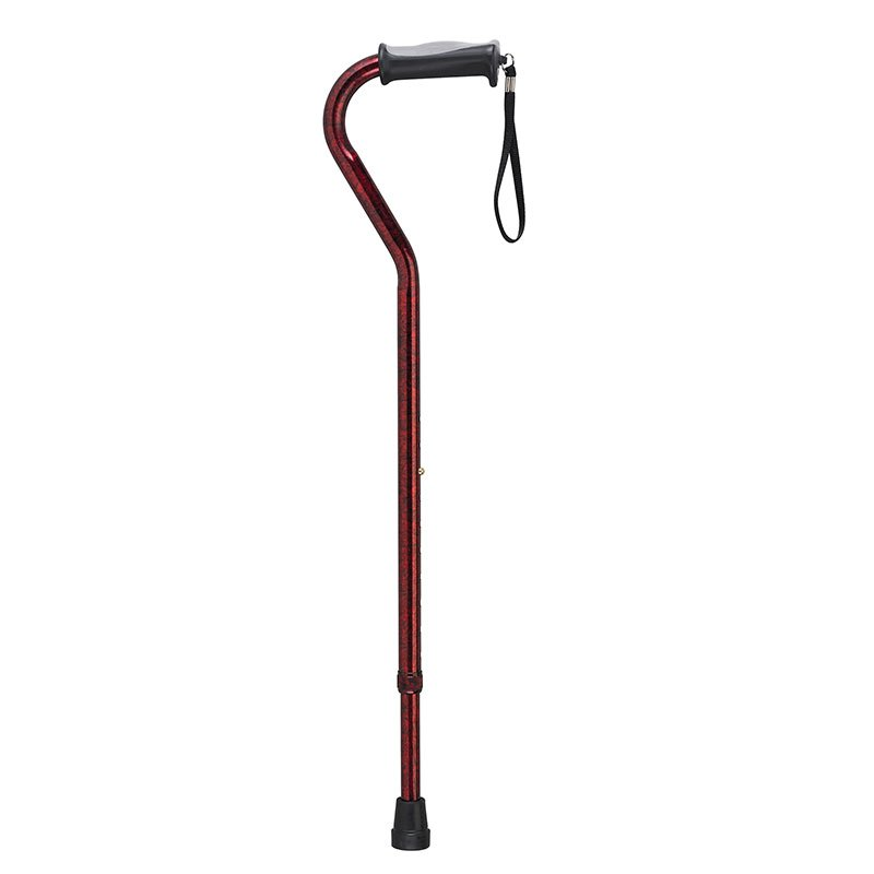 Drive Medical Adjustable Height Offset Handle Cane w/Gel Grip Red