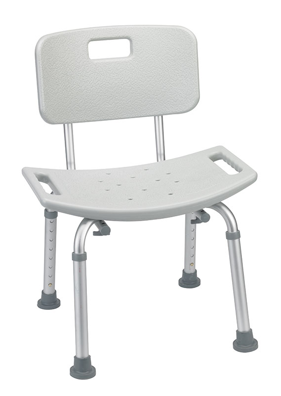 Drive Medical Grey Bathroom Safety Shower Tub Bench Chair w/Back