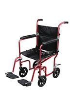 Drive Medical Flyweight Lightweight Transport Wheelchair w/Wheels Red