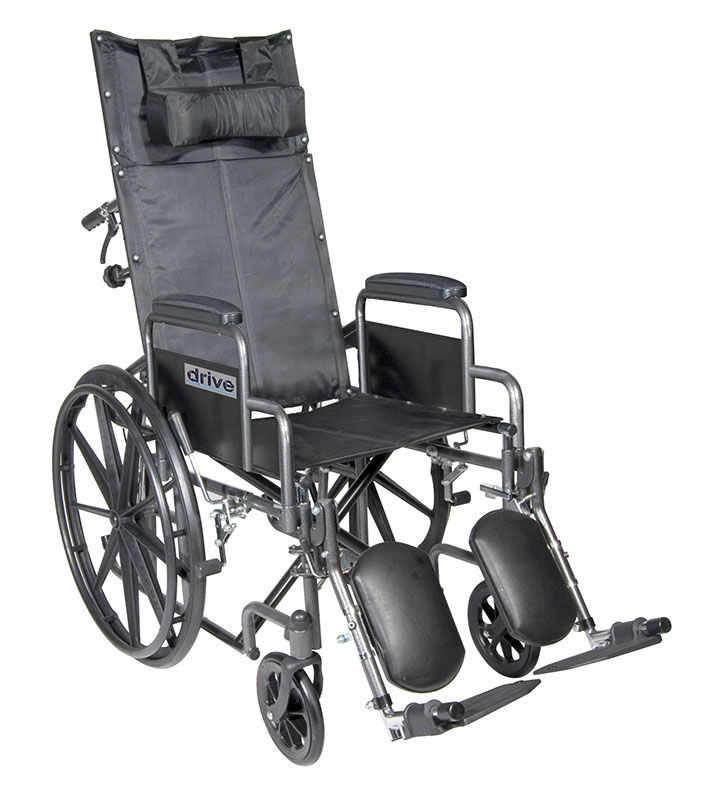 Drive Medical 16 Inch Silver Sport Reclining Wheelchair - SSP16RBDDA