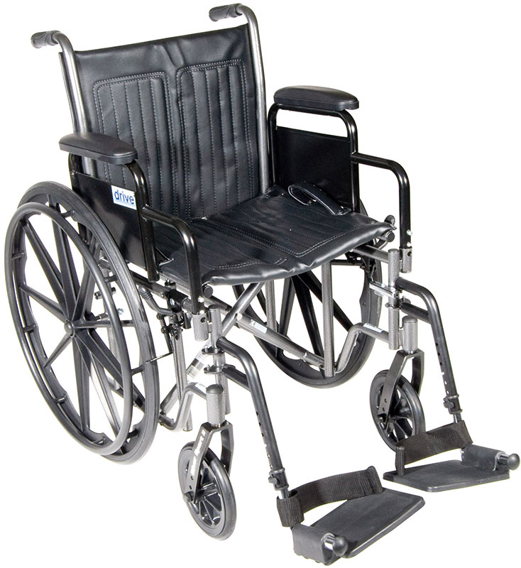 Drive Medical 18 Inch Silver Sport 2 Wheelchair - SSP218DDASF