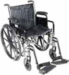"Drive Medical 20"" Silver Sport 2 Wheelchair - SSP220DDASF thumbnail"