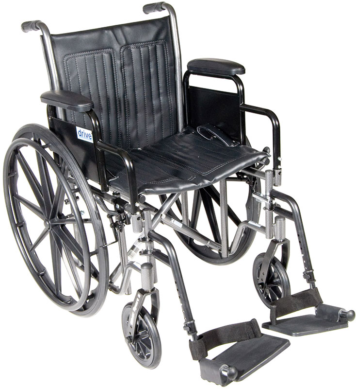 Drive Medical 20 Inch Silver Sport 2 Wheelchair - SSP220DDASF