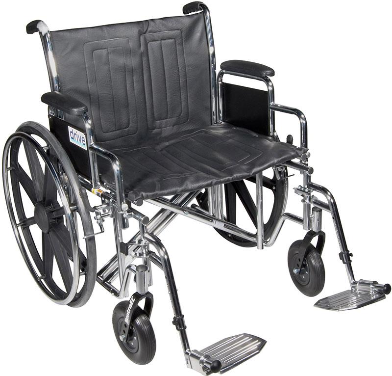 Drive Medical 24 Inch Sentra Heavy-Duty Wheelchair - STD24DDAELR