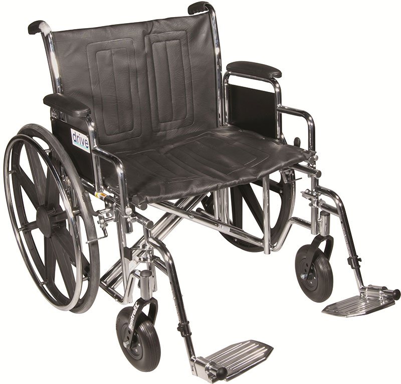Drive Medical 24 Inch Sentra EC Heavy-Duty Wheelchair - STD24ECDDASF