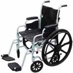 "Drive Medical 16"" Chrome Lightweight Wheelchair, Transport Chair Combo thumbnail"