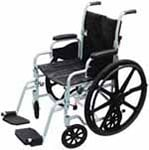"Drive Medical 18"" Chrome Lightweight Wheelchair, Transport Chair Combo thumbnail"