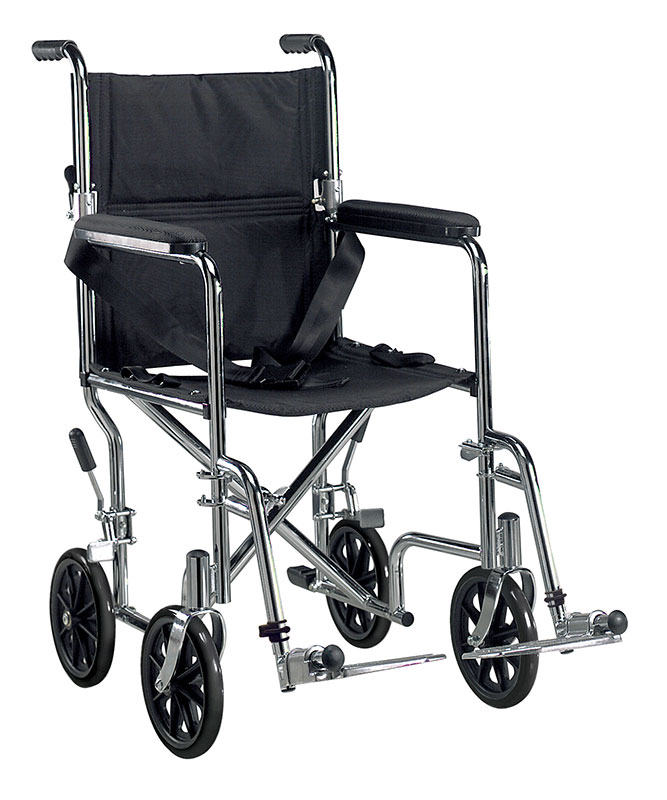 Drive Medical 19 inch Deluxe Go-Kart Transport Chair - Chrome