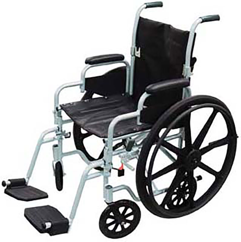 Drive Medical 20 Inch Chrome Lightweight Wheelchair, Transport Chair Combo