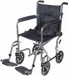 "Drive Medical 17"" Silver Lightweight Transport Wheelchair w/Footrest thumbnail"